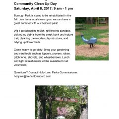 Frenchtown Borough Park Community Clean Up Day 4/8