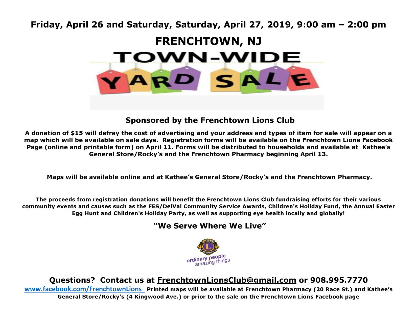 Frenchtown Lions Club Town-Wide Yard Sale - April 26th